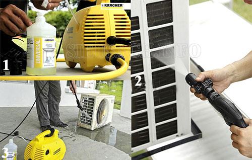 Làm sạch điều hòa bằng máy rửa xe gia đình
