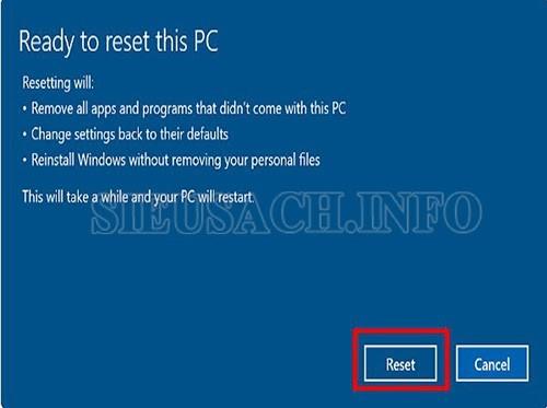Hoàn thành reset cho máy tính mà vẫn giữ lại dữ liệu file