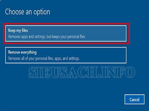 """Lựa chọn các mục tùy chọn trong """"Choose an option"""""""