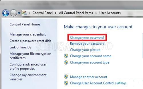 Thực hiện thay đổi mật khẩu cho máy tính