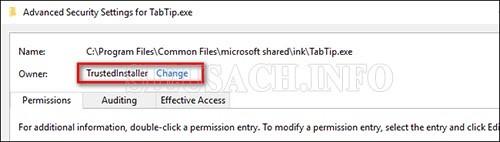 Thiết lập thay đổi trên cửa sổ Advanced Security Settings
