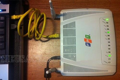 Kết nối modem với máy tính để thay đổi password wifi FPT