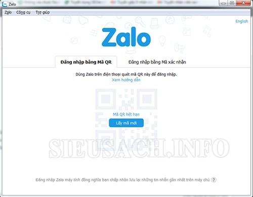 Lấy mã QR Zalo trên máy tính