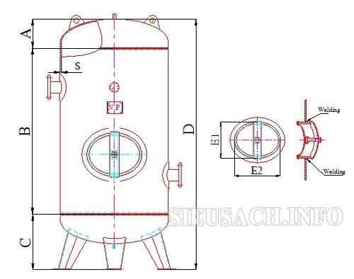 Sơ đồ cấu tạo của bình khí nén