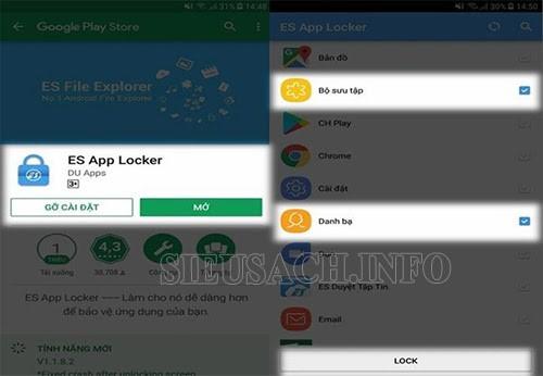 Khóa ứng dụng samsung