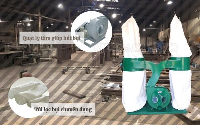 Máy hút bụi túi lọc thiết kế dành riêng cho xưởng gỗ lớn, bụi nhiều