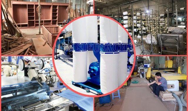 Máy hút bụi túi vải được sử dụng phổ biến trong các xưởng gỗ, dệt may, cắt quảng cáo