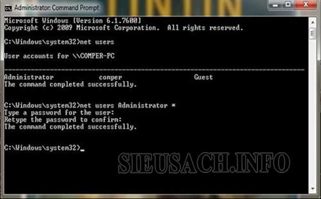 Thực hiện lệnh DOS để reset lại pass