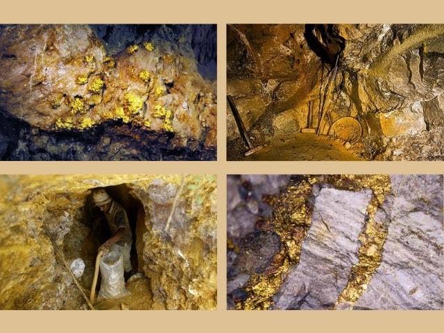 Vàng tạo thành lớp mỏng nằm bên trong các nham thạch nằm ở độ sâu 2 - 3m so với mặt đất.