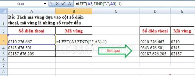 Hàm cắt chuỗi trong Excel