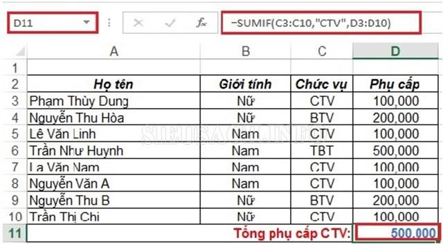 Hàm nào dùng để tính tổng trong Excel?