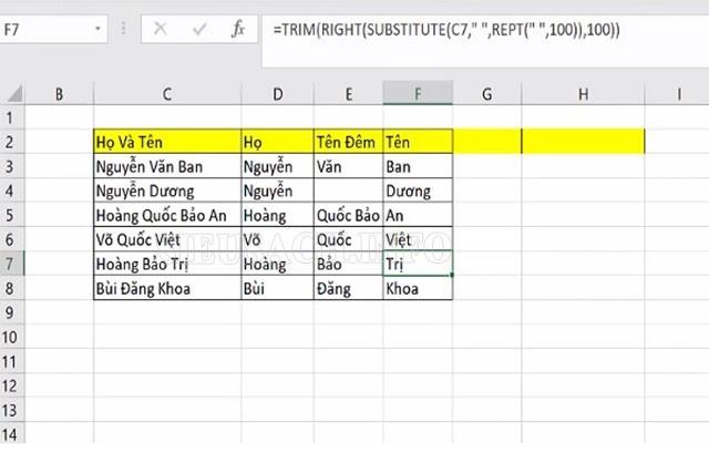 Tách họ và tên nhờ hàm cắt chuỗi có điều kiện trong Excel