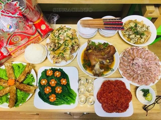 Các món trong mâm cỗ mặn có thể đa dạng theo nhu cầu của gia đình