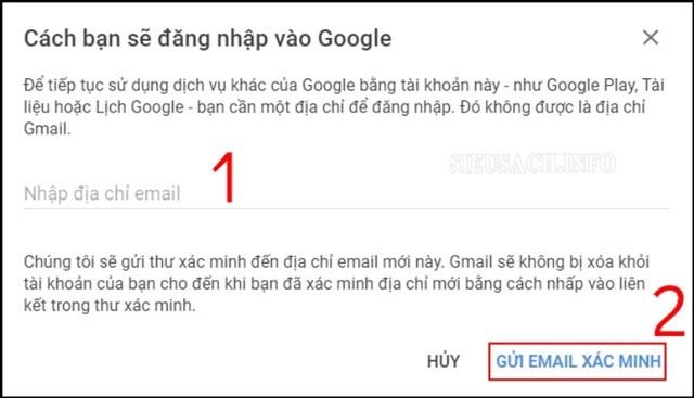Gửi email xác minh rằng mình đang xóa tài khoản trên Gmail