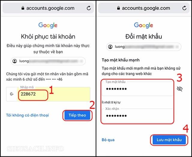 Hoàn tất việc tạo mật khẩu mới cho Gmail