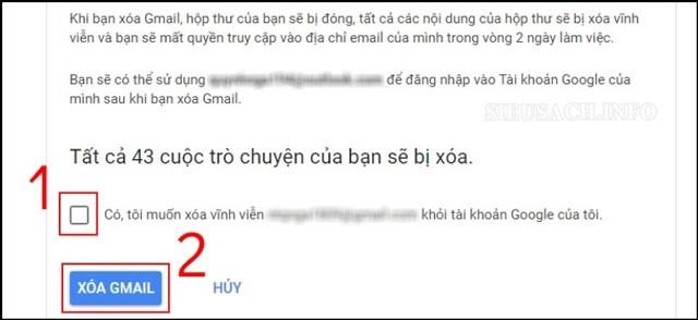 Xác nhận xóa Gmail lại một lần nữa